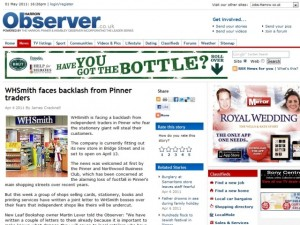 "Harrow Observer article about ""WHSmith backlash"""
