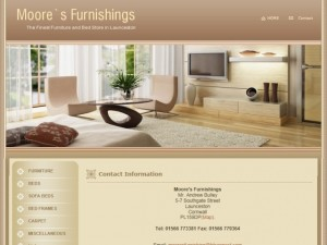 Screenshot of Moores Furnishing website (17 May 2011)