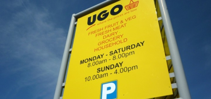 Signage at UGO store, Eston (4 May 2011). Photograph by Graham Soult