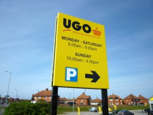 Signage at UGO store, Hartlepool (4 May 2011). Photograph by Graham Soult