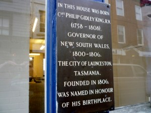 Commemorative plaque, 5-7 Southgate Street, Launceston (21 Feb 2011). Photograph by Graham Soult