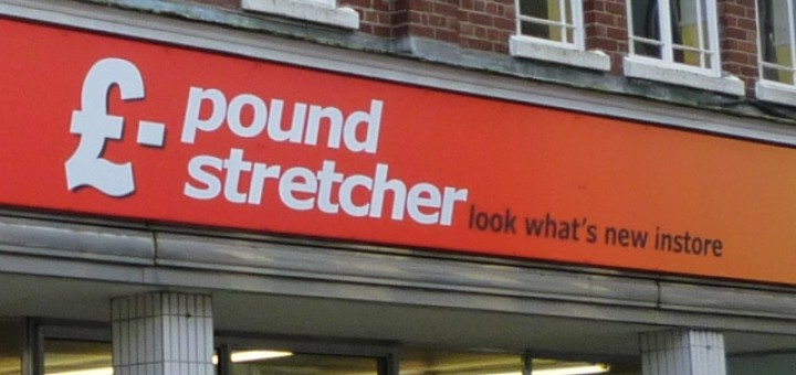 Poundstretcher fascia, Camborne (20 Feb 2011). Photograph by Graham Soult