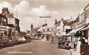 Old postcard of Redcar High Street, c.1950s