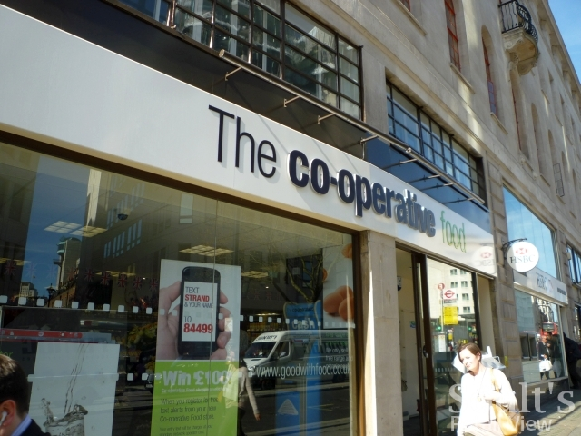 Recently opened Co-operative Food store in the Strand, London (6 Apr 2011). Photograph by Graham Soult