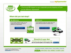 Asda Price Guarantee website welcome screen (6 Aug 2011)