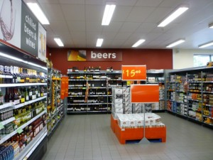Beers and wines, Asda Supermarket, Gateshead (8 Aug 2011). Photograph by Graham Soult