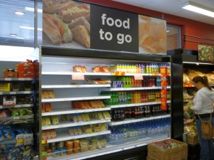 'Food to Go' section, Asda Supermarket, Gateshead (8 Aug 2011). Photograph by Graham Soult