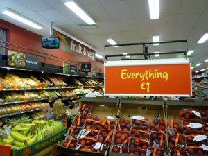 Fruit and veg section, Asda Supermarket, Gateshead (8 Aug 2011). Photograph by Graham Soult