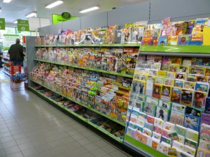 Magazines and greetings cards, Asda Supermarket, Gateshead (8 Aug 2011). Photograph by Graham Soult
