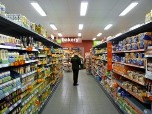 Oils and bread aisle, Asda Supermarket, Gateshead (8 Aug 2011). Photograph by Graham Soult