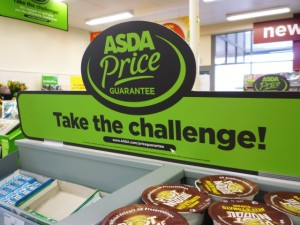 Point-of-sale promotion of the Asda Price Guarantee. Photograph by Graham Soult