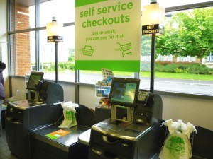Self-service checkouts, Asda Supermarket, Gateshead (8 Aug 2011). Photograph by Graham Soult