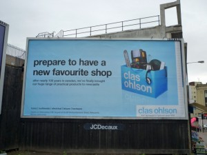 Clas Ohlson billboard, Gateshead (8 Aug 2011). Photograph by Graham Soult