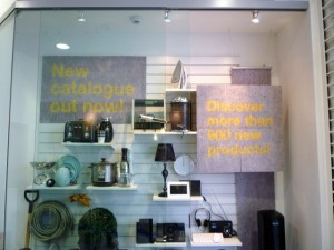 Display window, Clas Ohlson, Newcastle (23 Aug 2011). Photograph by Graham Soult