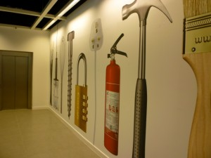 Lift area, Clas Ohlson, Newcastle (23 Aug 2011). Photograph by Graham Soult