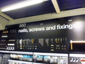 Nails, screws and fixings, Clas Ohlson, Newcastle (23 Aug 2011). Photograph by Graham Soult