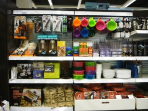 Outdoor products, Clas Ohlson, Newcastle (23 Aug 2011). Photograph by Graham Soult