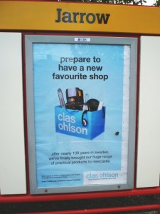 Clas Ohlson poster on Metro (8 Aug 2011). Photograph by Graham Soult