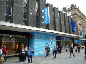 Hanging signage at new Clas Ohlson store, Newcastle (8 Aug 2011). Photograph by Graham Soult