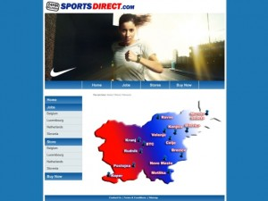 Screenshot showing Sports Direct's Slovenia stores (3 Aug 2011)