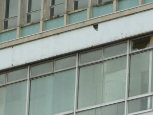 Traces of the 'Debenhams' lettering are still visible (6 Sep 2011). Photograph by Graham Soult