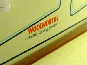 A bit of Woolies heritage at Wellies (8 Sep 2011). Photograph by Graham Soult