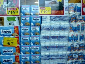 Window display, Poundstretcher Wombwell (3 Nov 2011). Photograph by Graham Soult