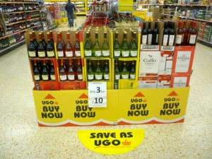 Wine offer display at Eton Street (11 Oct 2011). Photograph by Graham Soult