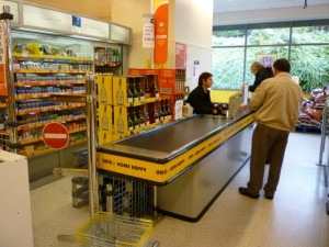Wine offer at UGO Monk Bretton checkout (11 Oct 2011). Photograph by Graham Soult