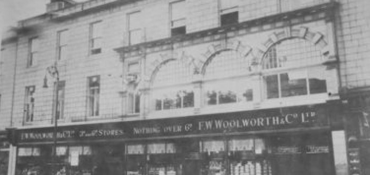 c1920s postcard of unidentified Woolworths