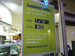 Closing-down poster at Newgate Street Co-op, Newcastle (2 Dec 2011). Photograph by Graham Soult