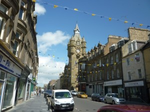 High Street and Town Hall, Hawick (29 May 2011). Photograph by Graham Soult