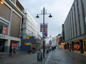 Northumberland Street, Newcastle, with new BHS on the left (1 Jan 2012). Photograph by Graham Soult