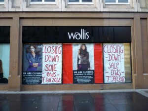 Wallis closing down, Newcastle (1 Jan 2012). Photograph by Graham Soult