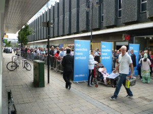 Crowds at the opening of Clas Ohlson Newcastle on 24 August 2011. Photograph by Graham Soult