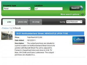 Screenshot of Newcastle's Peacocks unit being advertised at Estates Gazette (22 Feb 2012)