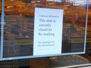 Nuneaton UGO 'closed for restocking' (7 Feb 2012). Photograph by Graham Soult