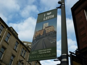 Lamppost banner showing former Woolworths, Leith (29 Jan 2012). Photograph by Graham Soult