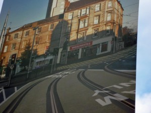 Lamppost banner showing Leith's Woolworths and tram line - both now defunct (29 Jan 2012). Photograph by Graham Soult
