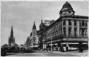 A closer-up 1930s postcard view of Woolworths, Princes Street, Edinburgh