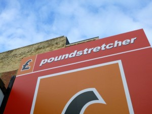 Sign at Poundstretcher in Ashington (21 Mar 2012). Photograph by Graham Soult