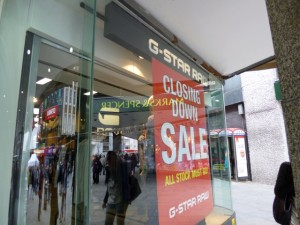G-Star Raw, Newcastle, prior to closure (9 Apr 2012). Photograph by Graham Soult