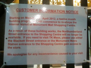 Notice at Monument Mall, Newcastle (16 Apr 2012). Photograph by Graham Soult