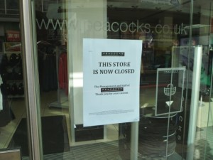 Closure notice at Peacocks, Gateshead (3 Mar 2012). Photograph by Graham Soult