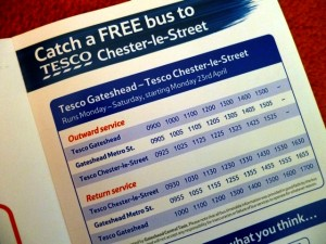 Shuttle bus timetable in Tesco Gateshead mailout (13 Apr 2012). Photograph by Graham Soult