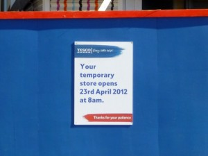 New temporary Tesco, Gateshead (1 Apr 2012). Photograph by Graham Soult