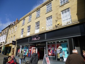 Former Woolworths (now M&Co), Alnwick (31 Mar 2012). Photograph by Graham Soult