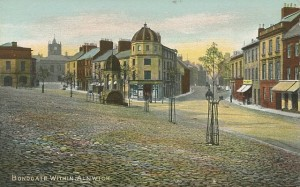 Old postcard of Bondgate Within pre-Woolworths, c.1906