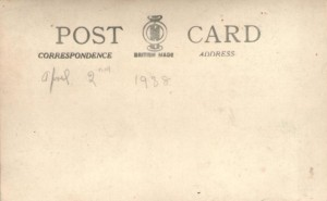 Back of postcard of unknown Woolworths shopfront, 2 April 1938