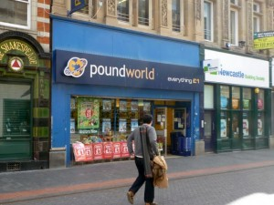 Established Poundworld store in Linthorpe Road, Middlesbrough (7 Mar 2012). Photograph by Graham Soult
